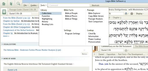 Screen shot of the new Logos 4 menu bar.